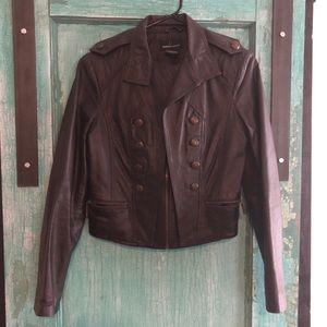 Dark brown, almost black leather crop jacket